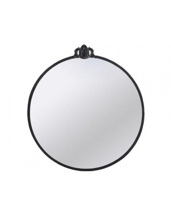 Libra Black Round Crest Mirror